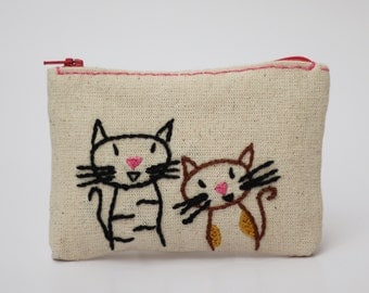 cats coin purse - hand embroidery on linen