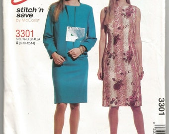 UNCUT 3301 McCalls Sewing Pattern Lined Jacket & Fitted Dress Size 8 10 12 14 Factory Folded