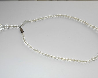 Beautiful Art Deco Faceted Crystal Necklace with Sterling Silver Clasp and Back Dangle Wedding Downton Gatsby