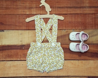 Girls Suspender Bloomers (0-3 months) - Ready to ship - Handmade