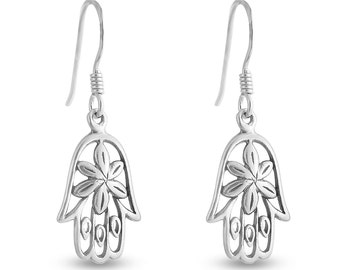 Floral Hamsa Hand of Fatima Jewish & Muslim Good Luck Symbol Religious Drop Dangle Hook Earrings #925 Sterling Silver #Azaggi E0503S