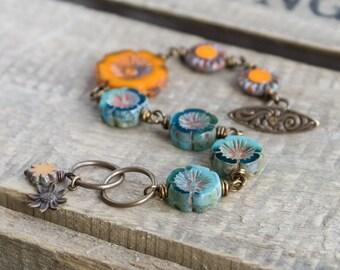 Orange, Turquoise & Aqua Bracelet with Wire Wrapped Czech Glass Flowers. Colorful Flower Bracelet. Bohemian, Summer Statement Jewelry