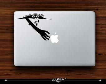 "apple, macbook, mac laptop ""Peeking monster,eyes peeking""humor, funny vinyl decal/sticker/graphic computer cut"