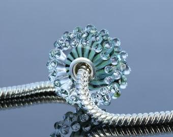 Glass Silver Cored BHB - encased ribbon bump if borosilicate glass - black, green, teal - B227