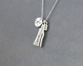 Personalized Initial Necklace. toothbrush charm jewelry. Toothpaste Necklace. gift for friend sister mom he.r No99
