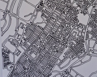 Jersey City Map - White & Black