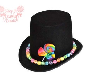 Custom Candy Covered Hat, Candy Top Hat, Groom Top Hat, Candy Wedding, Lollipop Groom, Candy Groom, Candy Costumes for Men, Halloween Ideas