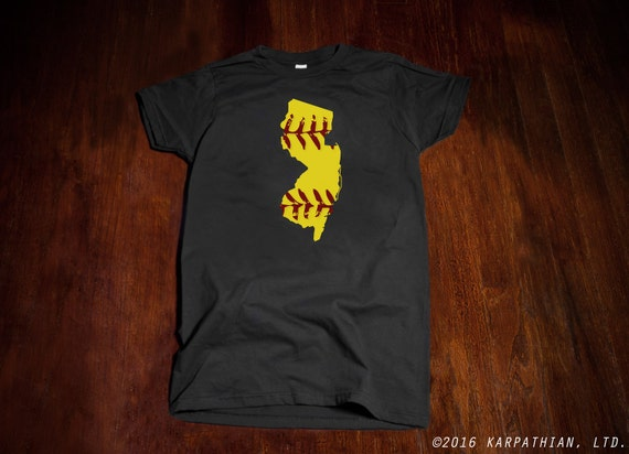 New Jersey Softball mens or ladies junior fit T-shirt