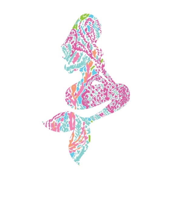 Lilly Pulitzer Inspired Sitting Pretty Mermaid Vinyl Decal