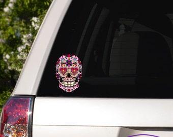 Locket Eyed Day of the Dead Skull Car Window Full Color Vinyl Decal