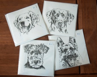 Dog Greetings Cards Drypoint Print