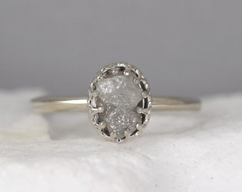 White Gold Raw Diamond Ring - Vintage Style Setting - 14K Gold - Rough Uncut Diamond Engagement Rings -April Birthstone - Anniversary Ring