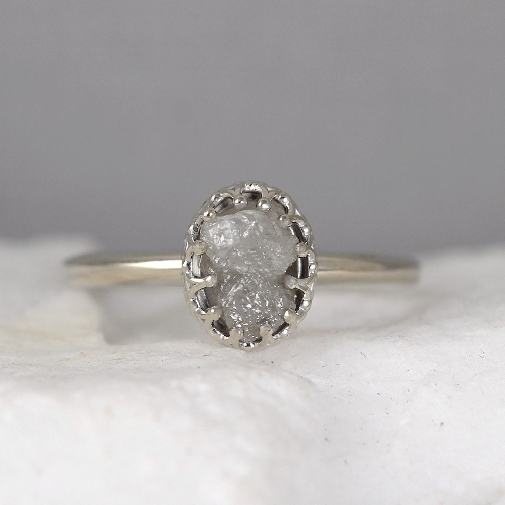 White Gold Raw Diamond Ring Vintage Style Setting 14K Gold