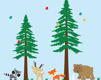Pine Tree Decal Childrens Woodlands Decal REUSABLE Fabric Decal - 726AA
