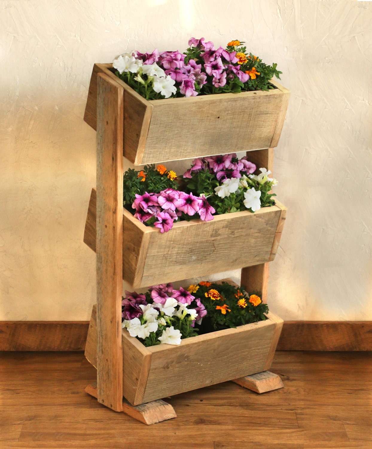 Diy Stacked Herb Garden: Vertical Planter Boxes Reclaimed Wood Stacked By