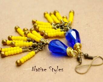 """3""""Bollywood Earrings Blue Glass Teardrop~Seed Beaded Teardrop Dangle Style~Bollywood Chandelier~Belly Dance Bead~Cobalt Blue Teardrop Yellow"""