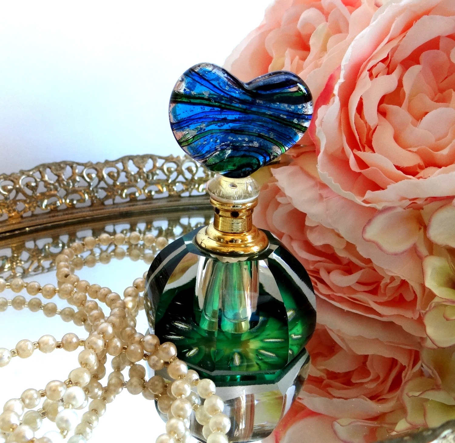 Art Glass Perfume Bottle Emerald Green Cobalt Blue With Glass