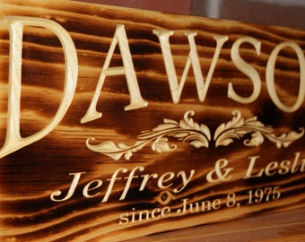 Wedding Gift Rustic Burned Finish Anniversary Engagement Engraved Plaque Personalized Wooden Last Name Carved Established Date Pine 19