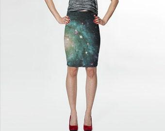 Nebula Skirt, Jersey Skirt, Galaxy Skirt, Blue Skirt, Fitted Skirt, Bodycon Skirt, Green Skirt, Printed Skirt, Patterned Skirt, Space Skirt