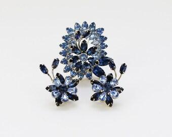 Blue Rhinestone Sherman Flower Brooch and Earrings - Vintage 1950s Demi Parure Signed Sherman
