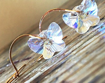 Swarovski Moonlight Butterfly Earrings White Radiant Frosted Fair Clear Ivory Pearly Snowy Milky Luminous Crystals Rose Gold Bridal Earrings