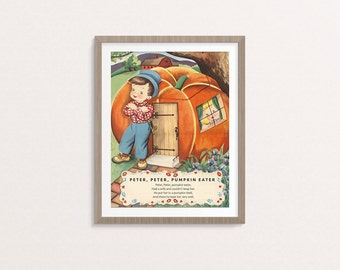 """Digital Peter Peter Pumpkin Eater nursery rhyme poster / 8"""" by 10"""" / downloadable, printable / vintage boy Mother Goose digital print / art"""
