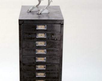 Vintage Industrial Metal Filing Cabinet Storage Drawers