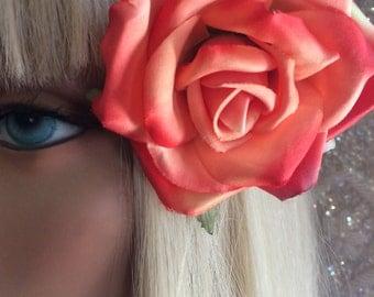 Darling Dusty Melon rose flower hair clip, vintage inspired, bridal, wedding, bridesmaids, pinup, rockabilly, burlesque, retro