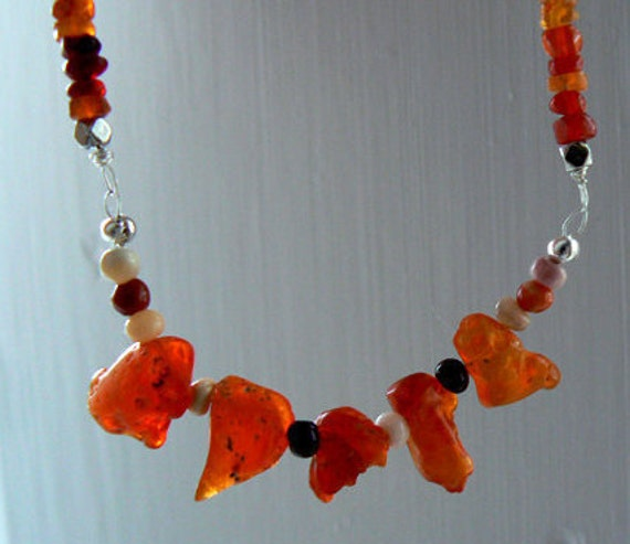 Raw Mexican fire opal gemstone sterling silver necklace- Raw stone boho necklace- Fashion, trendy red opal necklace- Women Valentine's gift