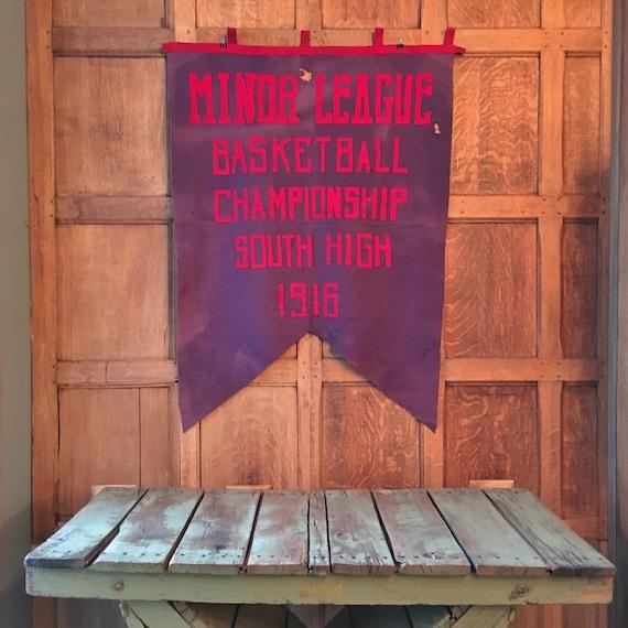 Large Antique Felt Banner, 1916 Minor League Basketball Championship Banner, South High Chicago