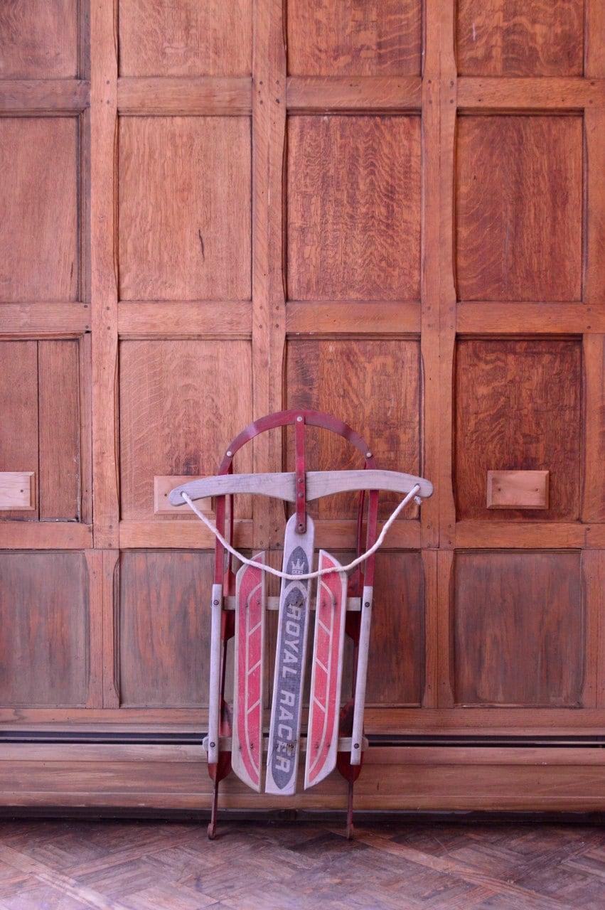 Vintage wood sled christmas decor sled antique sled royal for Antique sled decoration
