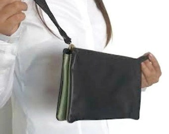 Sale 20% Black leather wristlet wallet , Leather women's wallet in black , Leather wristlet clutch , Wristlet wallet, Leather clutch purse
