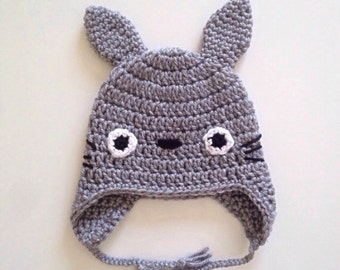 CROCHET PATTERN - Crochet TOTORO hat with earflaps (from 0 months to child size) Studio Ghibli - pdf only