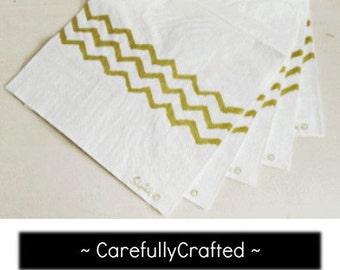 Metallic Gold Chevron Paper Napkins - Set of 20