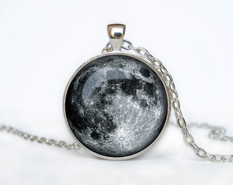 Full Moon Necklace Moon Pendant Space Galaxy Grey Moon Jewelry Necklace for men Art Gifts for Her Space pendant Moon necklace MOON PENDANT