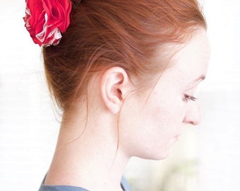 """Fabric flower """"Clarice"""" in red and white: valentine flower clip, women's hair flower bow, girls hair clip, flower pin, valentine hair bow"""