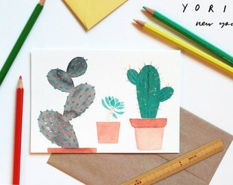 "Cactus / Succulents blank card | multi purpose greeting card | green + brown | A6 | 4.5""h X 6.25""w, folded"