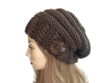 Slouchy Knit Hat- In taupe or Choose Your Color, knit slouch hat, cabled hat, chunky slouch hat, slouchy knit hat, warm hat, taupe hat