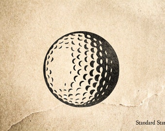 Golf Ball Rubber Stamp - 2 x 2 inches