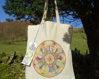 Tote Bag/Cotton Eco Tote Bag/Lifeline/Mandala/Spiritual art/Healing Art/Chakras/Angels/Ying Yang symbol/Meditative art/Meditation