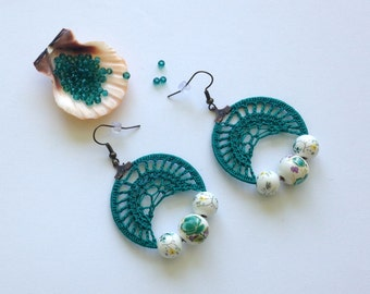 Turquoise Earrings, Crochet Earrings, Cotton Earrings With Ceramic Beads and Brass Earwires, Fiber Accessories, Blue Green Textile Jewelry