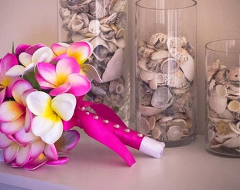 Pink Frangipani Plumeria Posy Bouquet Real-Touch Destination Wedding