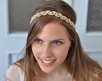 Gold Headband ,Gold Wedding headband, Gold Bridal Headband
