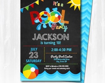 Pool Party Invitation - Swimming Pool Birthday Party - Pool Party - EDIT at home NOW  with Adobe Reader!!! - Sugar Shebang