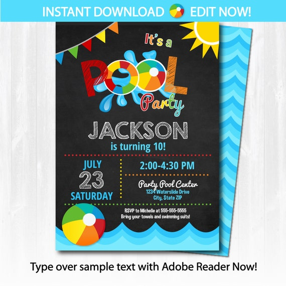 pool party invitation swimming pool birthday party by