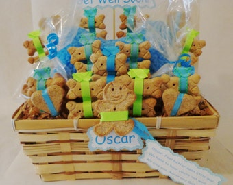 Get Well Dog biscuit treat dog gift basket with squeak toy, personalized dog gift, sick dog gift, dog birthday gift