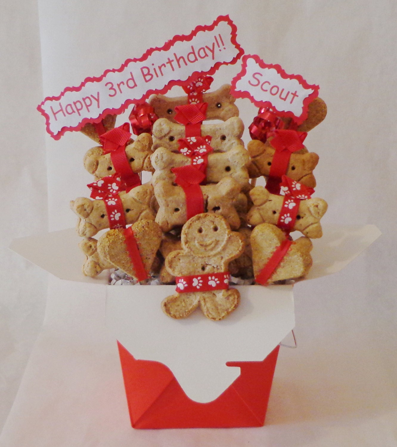 Etsy Dog Gift Baskets : Dog treat gift basket biscuits treats personalized