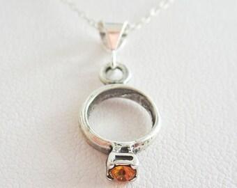 Orange Birthstone Ring Pendant Charm and Necklace