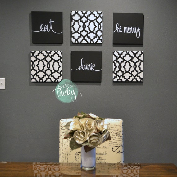 Black white eat drink be merry wall art 6 pack canvas wall for Dining room wall art canvas