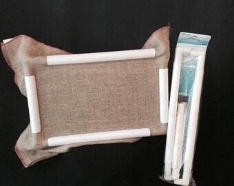 PVC Rug Hooking lap frame- Deanne Fitzpatrick Studio